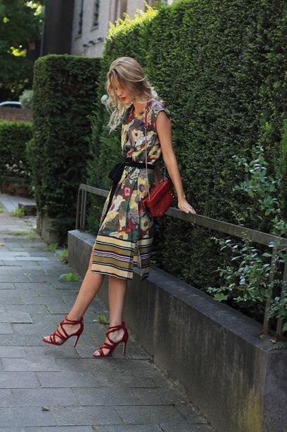 dress midi dress floral dress sandals crossbody bag zaful