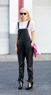 always judging,jeans,t-shirt,sunglasses,bag,jewels,shoes,white top,eyelet top,eyelet detail,short sleeve,leather overalls,black overalls,overalls,black shoes,high heels
