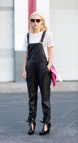 always judging jeans t-shirt sunglasses bag jewels shoes white top eyelet top eyelet detail short sleeve leather overalls black overalls overalls black shoes high heels