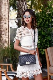 sunglasses,dior so real,dior sunglasses,silver sunglasses,mirrored sunglasses,viva luxury,dress,white dress,mini dress,eyelet dress,lace dress,bag,crossbody bag,chanel bag,chanel,black bag,dior,eyelet detail,glasses,sunnies,accessories,Accessory