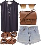 shorts,blouse,bag,sunglasses,shoes,black top,denim shorts,tank top,black,high waisted,denim shortalls,High waisted shorts