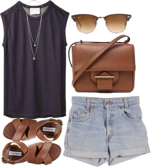 shorts blouse bag sunglasses shoes black top denim shorts tank top black high waisted denim shortalls High waisted shorts