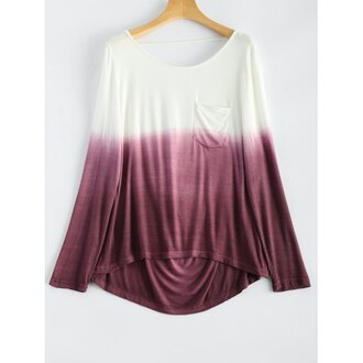 top white trendy fashion long sleeves ombre trendsgal.com