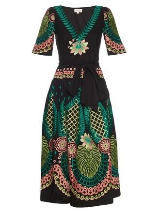 dress wrap dress embroidered midi black