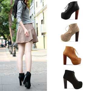 Ladies 4 Color Lita Platforms High Heels Lace Up Ankle Shoes Boots 36 37 38 39 | eBay