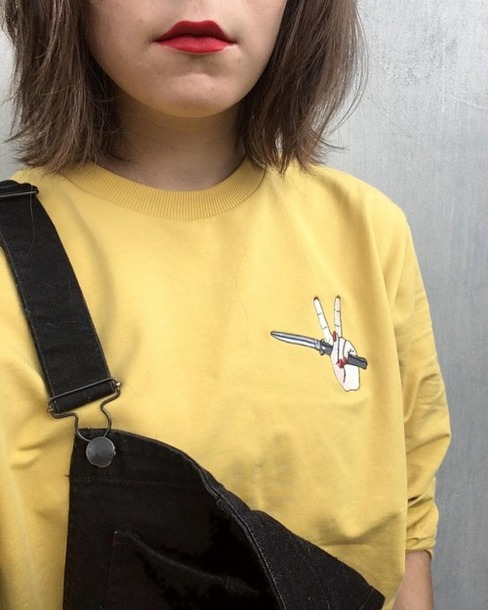 sweater hand yellow yellow sweater embroidered knife red nails yellow top  patched top tumblr red lipstick