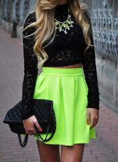 skirt,neon,fashion,shirt,tank top,crop tops,black top,lace top,bag,cut,blouse,neon green,black,lace,chucky necklace,skater skirt,yellow,cute,swag,dope,ineed,colorful,jewelry,jewels,soo trill,blonde hair,green,neon skirt