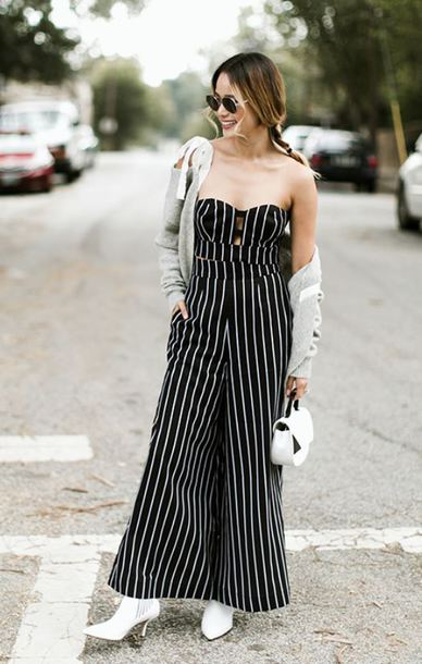 e6d6d7831897 jumpsuit stripes strapless jamie chung ankle boots pants crop tops top  cardigan fall outfits blogger