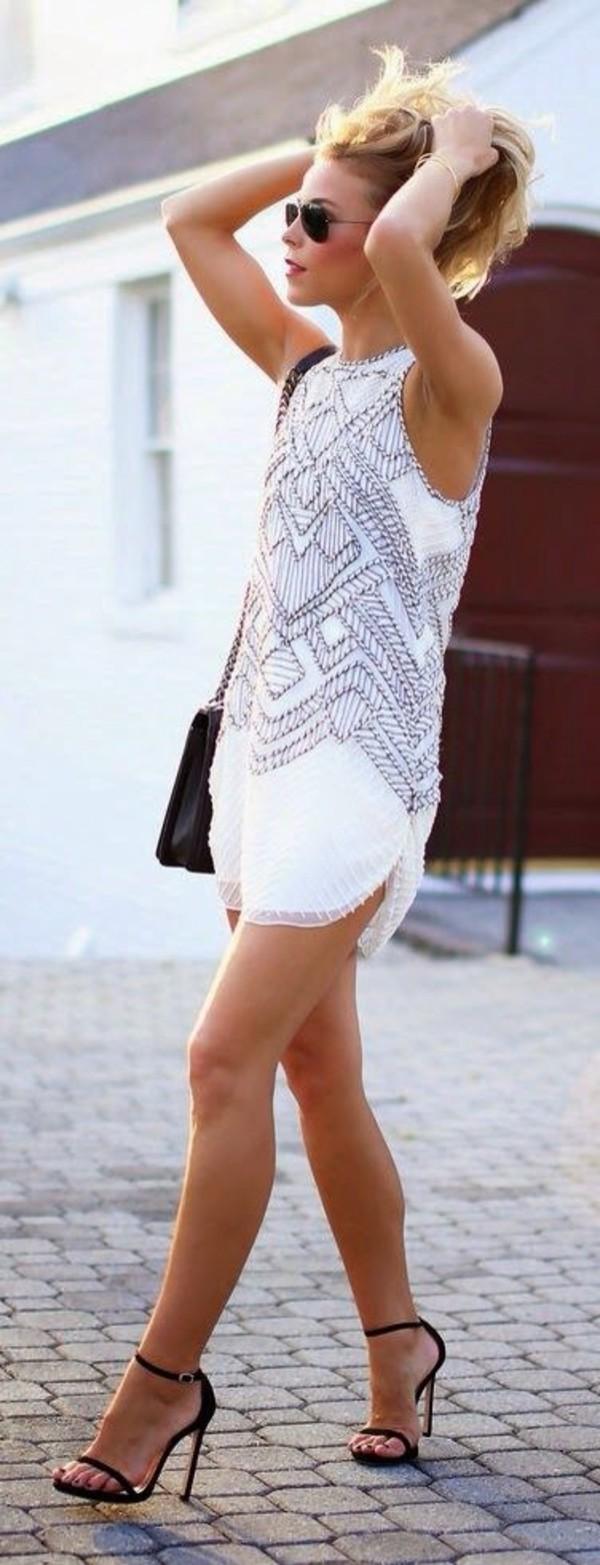white dress summer dress prom dress short dress sleeveless dress tribal pattern
