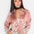 Embroidered Satin Bomber Jacket DUSTY PINK -SheIn(Sheinside)