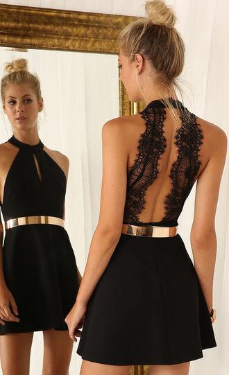 dress gold belt belted dress black dress halter dress