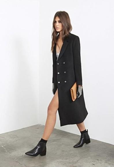 black coat fashion coat