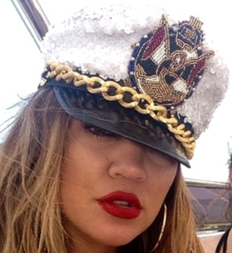 hat kloe kardashian cap sailor captain glitter