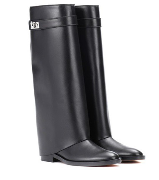 shark leather boots leather black shoes