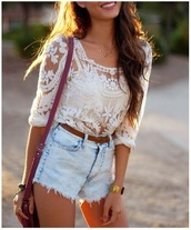 top,t-shirt,shirt,lace shirt,white,sheer blouse,floral,ebonylace-streetfashion,ebonylace.storenvy,blouse,crochet,white aztec,shorts,white lace top,nude cami,High waisted shorts,light wash shorts,denim,brown belt,shoulder bag,tanned girl,long hair,withe,bag,chic muse,dress,see through,be nice or go away,sunny,perfect,lace,cute,sweater,lace white shirt,denim shorts,belt,high waisted bikini,outfit,summer outfits,style,clothes,pattern,sweet,fringed shorts,light blue jeans shorts,lace top,white top,country style,girly,crop tops,white t-shirt,lace white,summer top,tank top,long sleeves,beautiful,jeans,summer