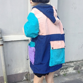 jacket colorblock fashion style blue pink boogzel