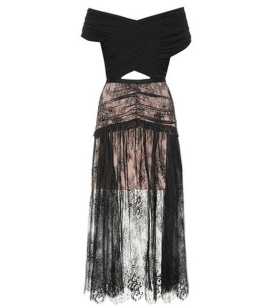 Self-Portrait Lace midi dress in black