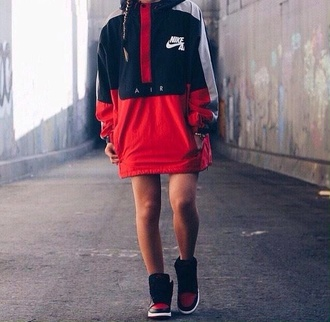 coat red nike supreme dope jacket