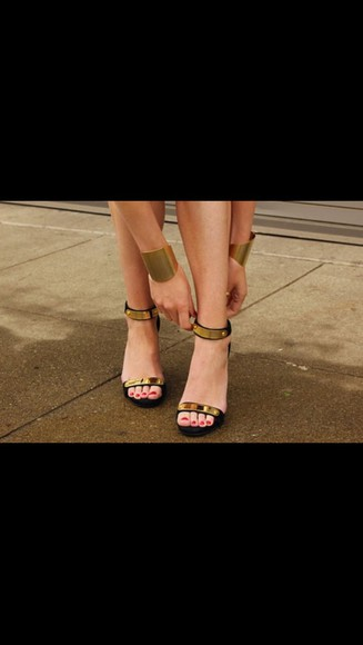 shoes open toes black sandal heels heels, high heels gold gold plate