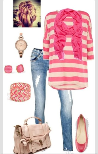bag cute outfits striped shirt pink ballet flats jewelry shoes scarf jeans