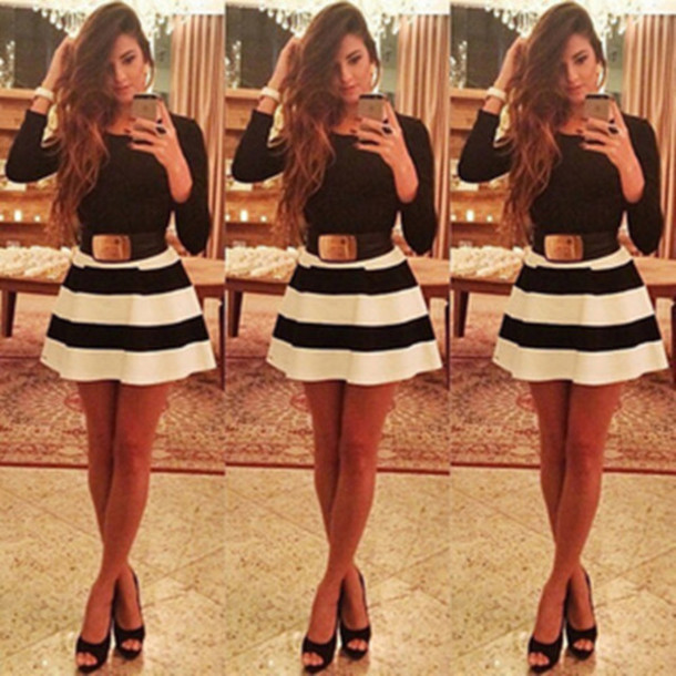 b5c68e8fe29a dress sweet round neck stripe print spliced short dress women dress sexy  dress black dress skirt