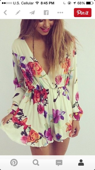 romper dress shorts flowy floral