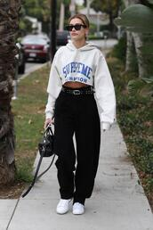 sweater,hoodie,sneakers,pants,hailey baldwin,model off-duty,streetstyle,celebrity,fall outfits,cropped sweater,cropped hoodie