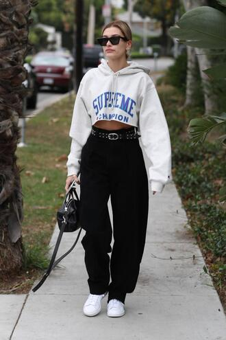 sweater hoodie sneakers pants hailey baldwin model off-duty streetstyle celebrity fall outfits cropped sweater cropped hoodie