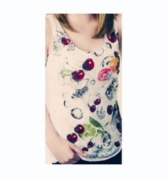 tank top cherry top women fruit