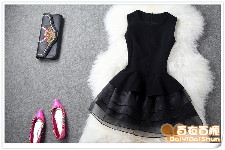Taobao European Grand Prix 2014 fashion princess dress hem stitching ladies temperament Slim organza sleeveless Dressesrysqpuqmjmn from English Agent:BuyChina.com