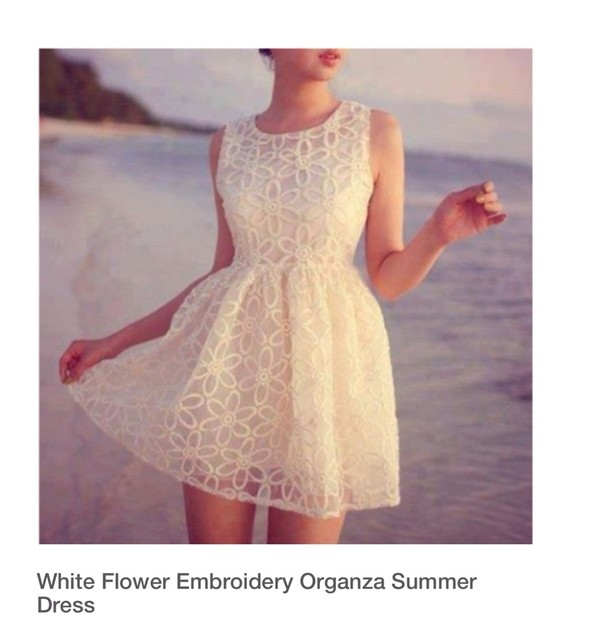 dress floral summer dress summer white dress lace dress organza dresses embroidery detail white cream dress