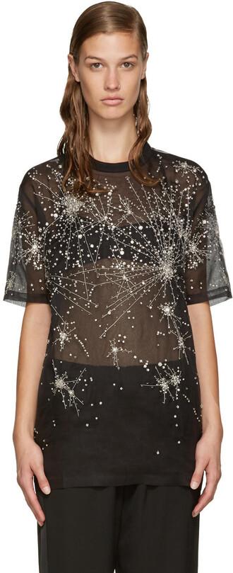 t-shirt shirt black silk top