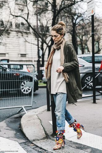 shoes printed boots boots high heels boots jeans denim light blue jeans sweater grey sweater scarf jacket parka army green jacket streetstyle fall outfits