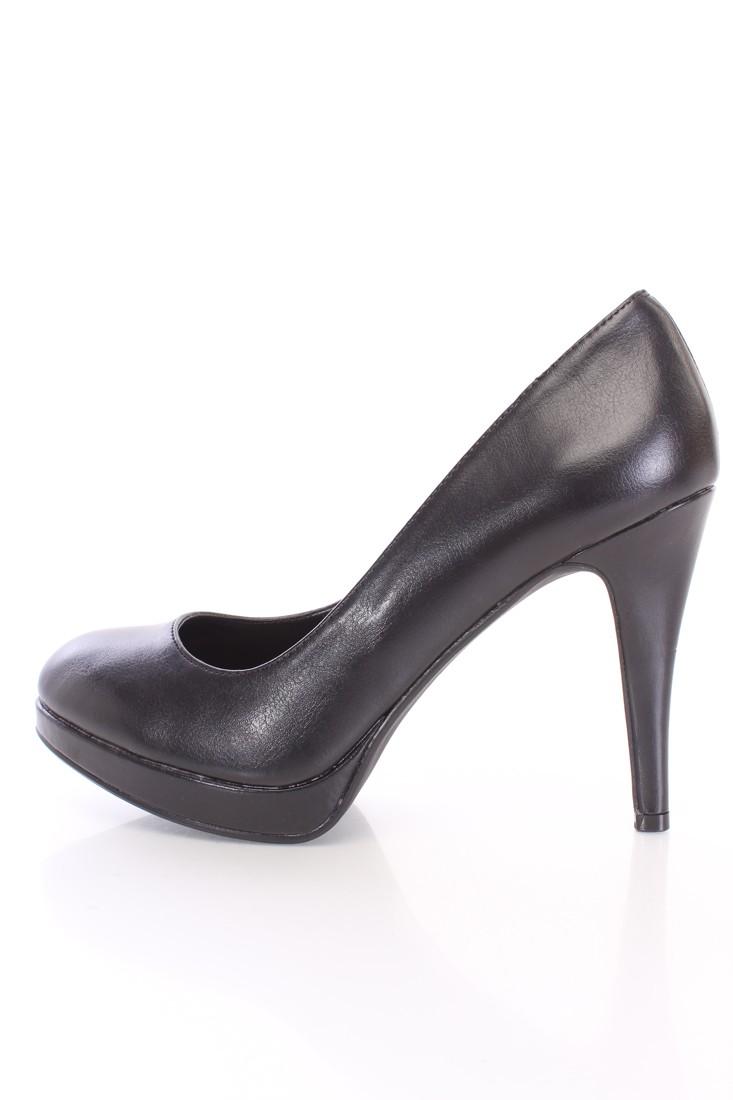Black Closed Toe Pump Heels Faux Leather