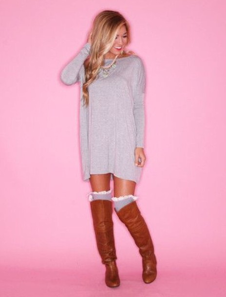 sweater dress cute sweaters knitted cardigan sexy dress casual dress knit pink dress knee high riding boots shoes socks