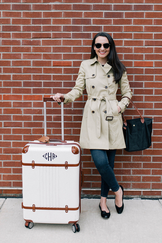 thecollegeprepster blogger coat jeans sunglasses trench coat fall outfits ballet flats