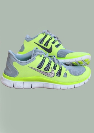 shoes neon yellow shoes nike yellow jewels sparkles nike shoes