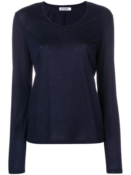 Jil Sander top women cotton blue