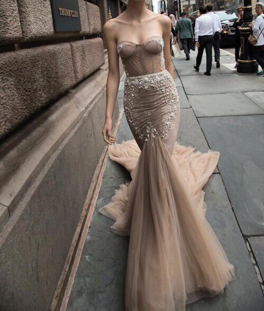 dress, nude, sequin dress, formal dress, prom dress, net, fishtail ...