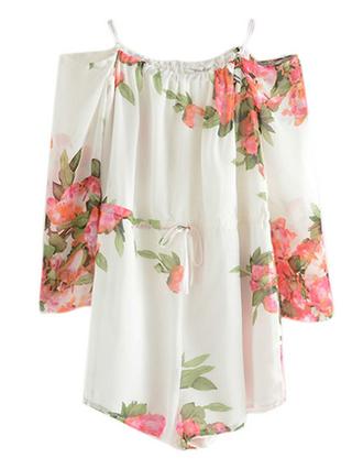 romper off the shoulder sale brenda-shop jumper floral floral dress summer summer outfits sexy cute beach chiffon