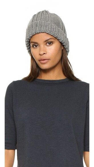 knit beanie grey hat