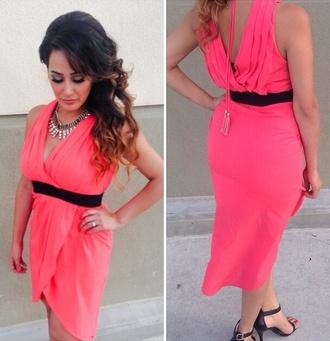 pink dress dress coral dress pink high low dress backless dress backless wrap dress summer outfits summer dress
