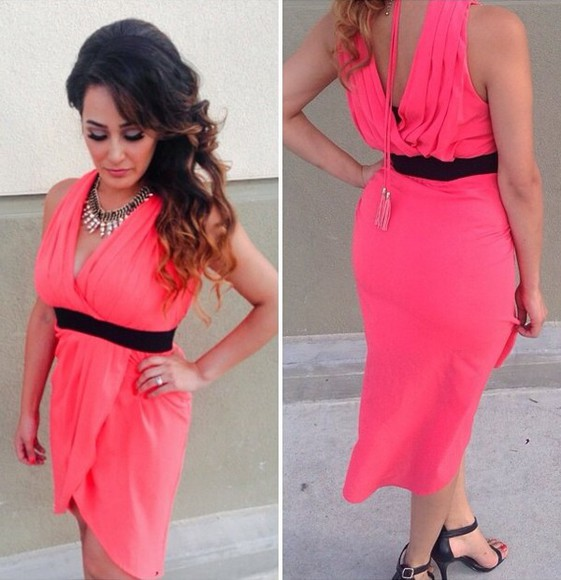 coral dress pink pink dress high low dresses backless dress backless wrap dress summer outfits summer dress dress