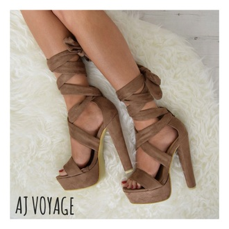 shoes tan lace up heels summer suede wrap around beige nude