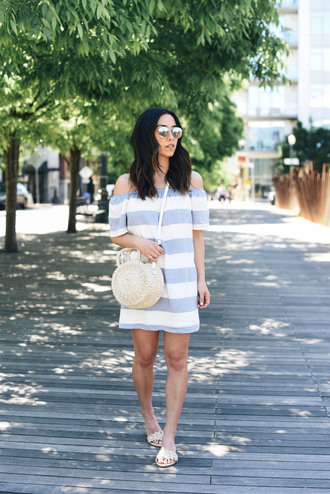dress tumblr stripes striped dress off the shoulder off the shoulder dress sandals flat sandals summer dress summer outfits bag round bag shoes