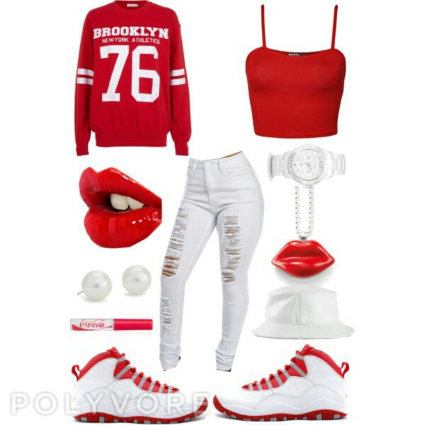 sweater brooklyn tank top jordans lipstick high waisted jeans