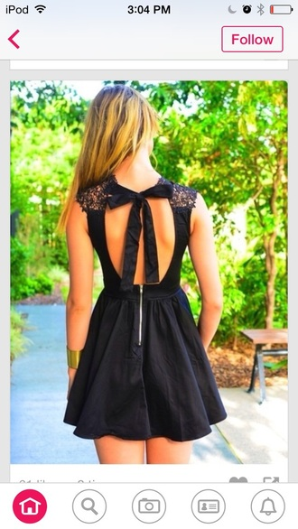 dress black dress black lace dress lace black lace dress bow cute cute dress teenagers style fashion clothes tumblr clothes