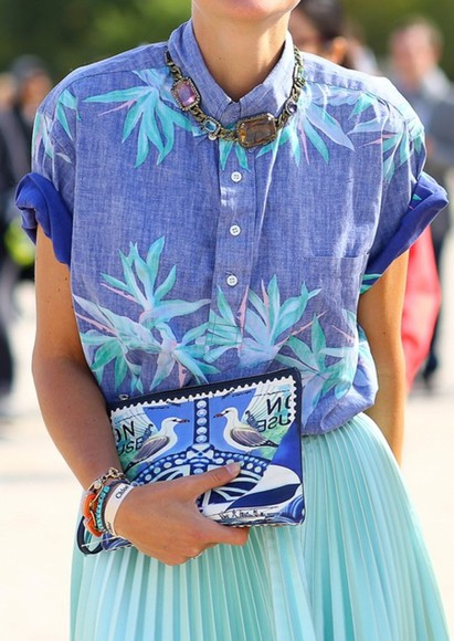 mint blouse blue teal button down floral short sleeve blogger street style tumblr pinterest floral button down floral blouse