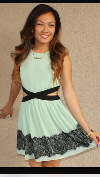dress mint green side cut black stripe girl style
