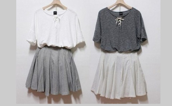 blouse white blouse grey skater skirt white skater skirt grey blouse